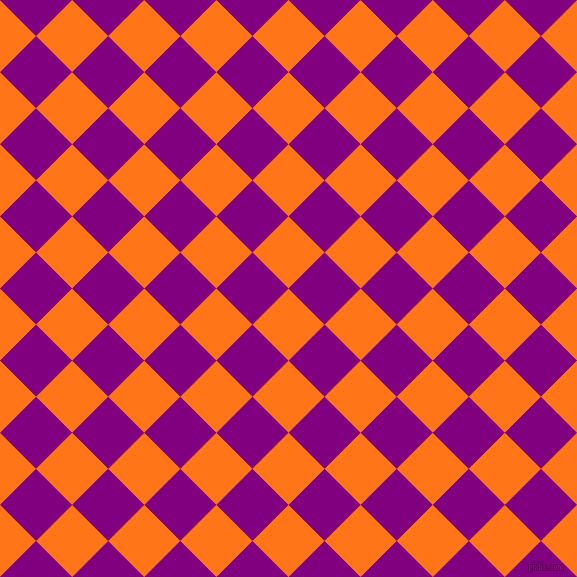 45/135 degree angle diagonal checkered chequered squares checker pattern checkers background, 51 pixel squares size, , Pumpkin and Purple checkers chequered checkered squares seamless tileable