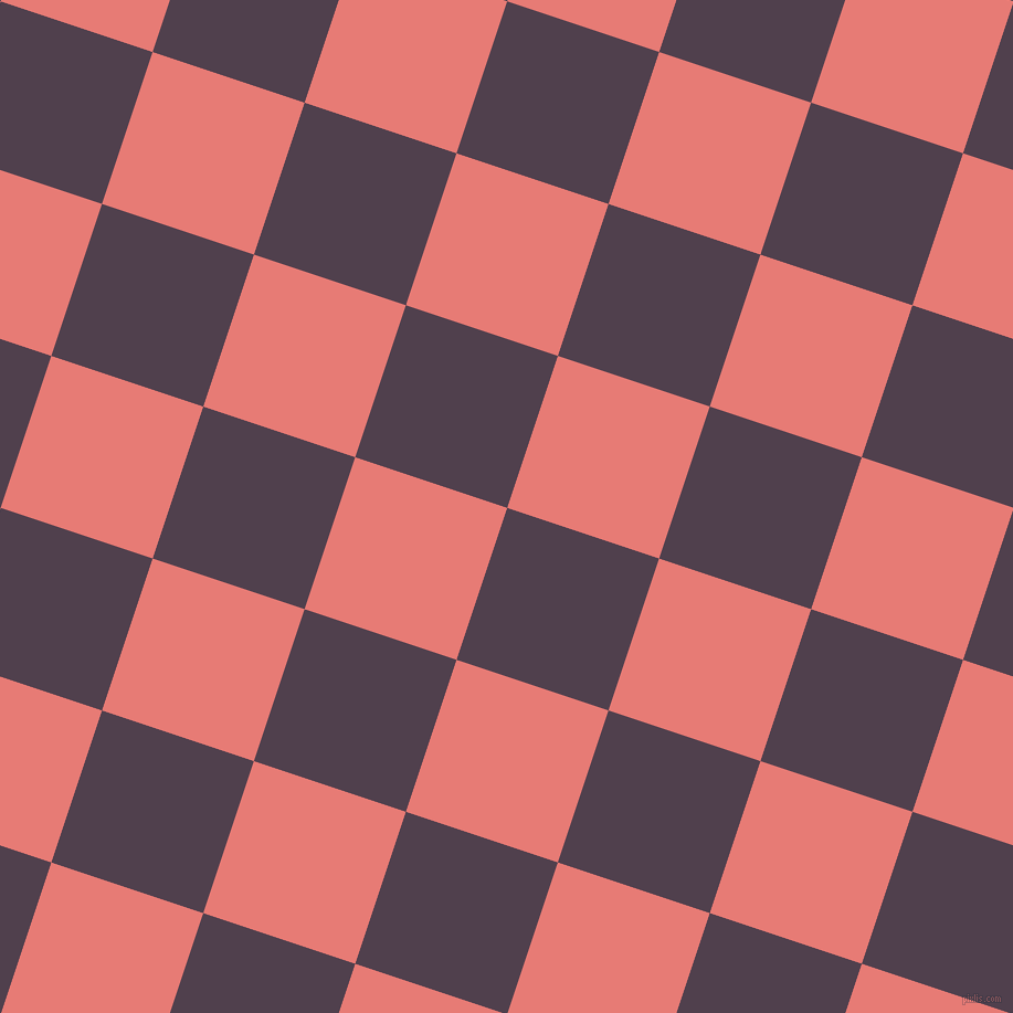 72/162 degree angle diagonal checkered chequered squares checker pattern checkers background, 145 pixel square size, , Purple Taupe and Geraldine checkers chequered checkered squares seamless tileable