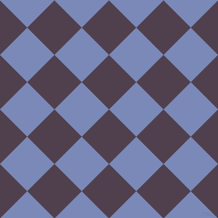 45/135 degree angle diagonal checkered chequered squares checker pattern checkers background, 127 pixel squares size, , Purple Taupe and Wild Blue Yonder checkers chequered checkered squares seamless tileable