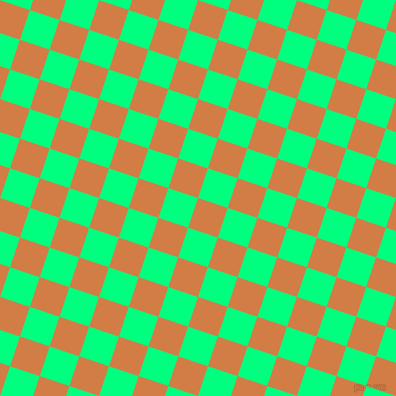 72/162 degree angle diagonal checkered chequered squares checker pattern checkers background, 35 pixel square size, , Raw Sienna and Spring Green checkers chequered checkered squares seamless tileable