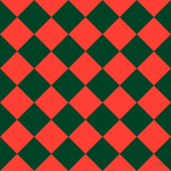 45/135 degree angle diagonal checkered chequered squares checker pattern checkers background, 81 pixel square size, , Red Orange and British Racing Green checkers chequered checkered squares seamless tileable
