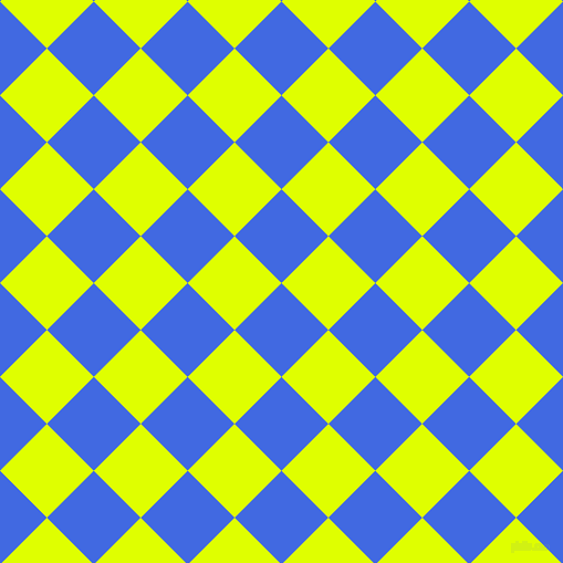 45/135 degree angle diagonal checkered chequered squares checker pattern checkers background, 60 pixel square size, , Royal Blue and Chartreuse Yellow checkers chequered checkered squares seamless tileable