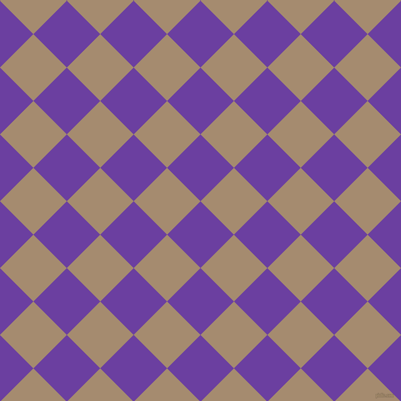 45/135 degree angle diagonal checkered chequered squares checker pattern checkers background, 93 pixel squares size, Royal Purple and Mongoose checkers chequered checkered squares seamless tileable
