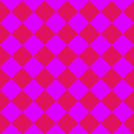 45/135 degree angle diagonal checkered chequered squares checker pattern checkers background, 52 pixel square size, , Ruby and Psychedelic Purple checkers chequered checkered squares seamless tileable