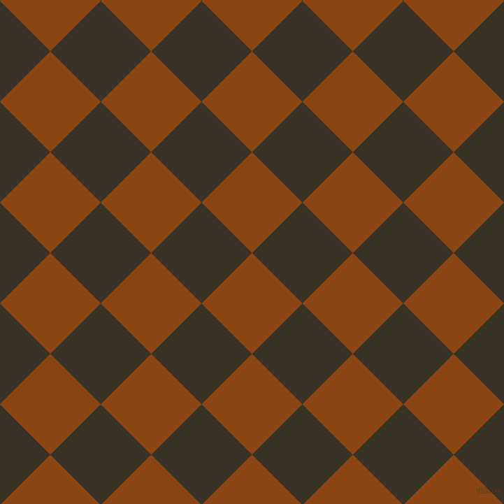 45/135 degree angle diagonal checkered chequered squares checker pattern checkers background, 102 pixel squares size, , Saddle Brown and Creole checkers chequered checkered squares seamless tileable