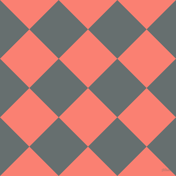 45/135 degree angle diagonal checkered chequered squares checker pattern checkers background, 143 pixel square size, , Salmon and Nevada checkers chequered checkered squares seamless tileable