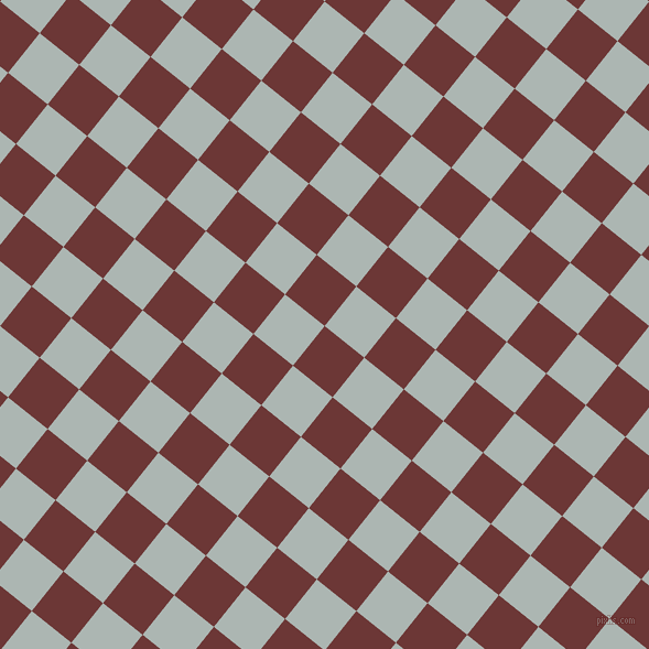 51/141 degree angle diagonal checkered chequered squares checker pattern checkers background, 46 pixel square size, , Sanguine Brown and Periglacial Blue checkers chequered checkered squares seamless tileable