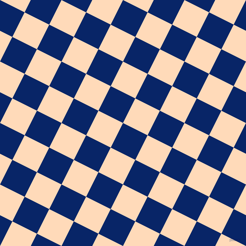 63/153 degree angle diagonal checkered chequered squares checker pattern checkers background, 95 pixel square size, Sapphire and Peach Puff checkers chequered checkered squares seamless tileable