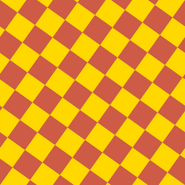 54/144 degree angle diagonal checkered chequered squares checker pattern checkers background, 73 pixel squares size, , School Bus Yellow and Dark Coral checkers chequered checkered squares seamless tileable