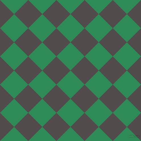 45/135 degree angle diagonal checkered chequered squares checker pattern checkers background, 70 pixel squares size, , Sea Green and Matterhorn checkers chequered checkered squares seamless tileable
