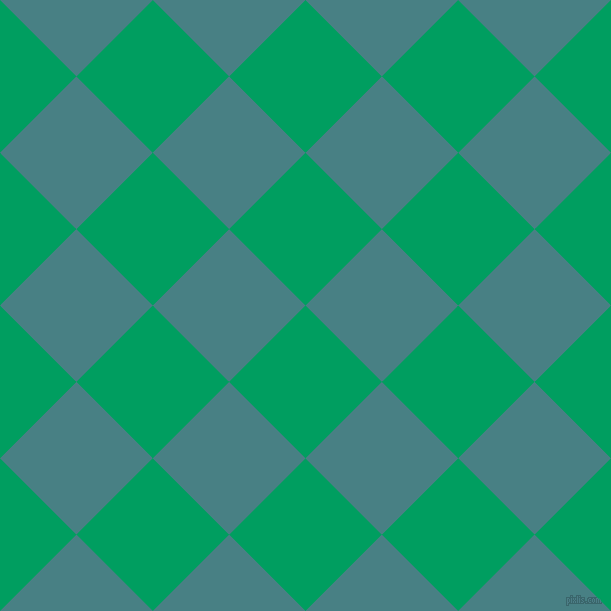 45/135 degree angle diagonal checkered chequered squares checker pattern checkers background, 108 pixel squares size, , Shamrock Green and Paradiso checkers chequered checkered squares seamless tileable