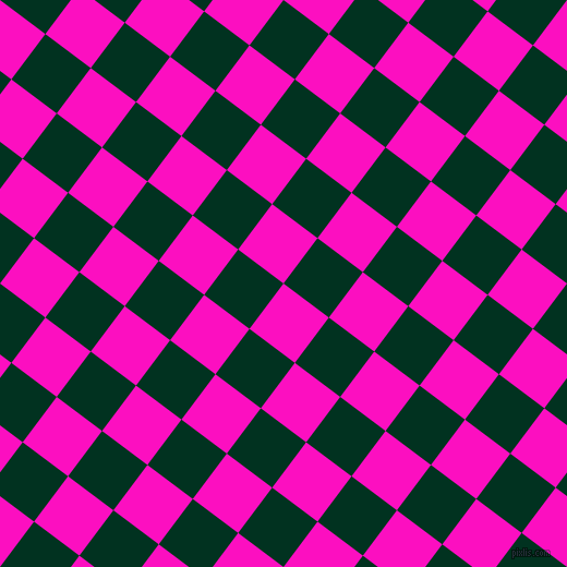 53/143 degree angle diagonal checkered chequered squares checker pattern checkers background, 52 pixel squares size, , Shocking Pink and Dark Green checkers chequered checkered squares seamless tileable