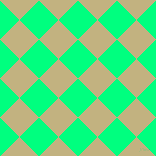 45/135 degree angle diagonal checkered chequered squares checker pattern checkers background, 93 pixel square size, , Spring Green and Ecru checkers chequered checkered squares seamless tileable