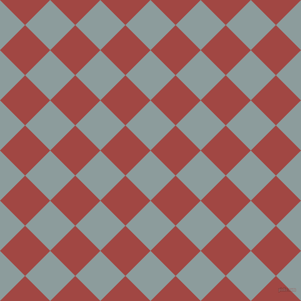 45/135 degree angle diagonal checkered chequered squares checker pattern checkers background, 72 pixel squares size, , Submarine and Roof Terracotta checkers chequered checkered squares seamless tileable