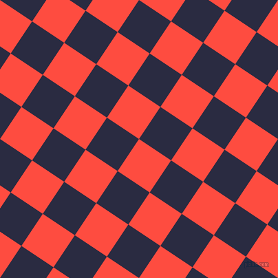 56/146 degree angle diagonal checkered chequered squares checker pattern checkers background, 56 pixel square size, , Sunset Orange and Valhalla checkers chequered checkered squares seamless tileable