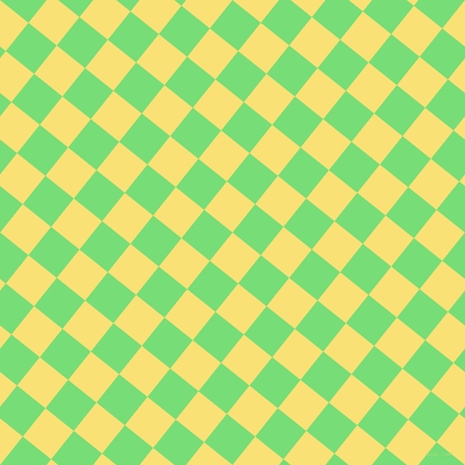 51/141 degree angle diagonal checkered chequered squares checker pattern checkers background, 53 pixel squares size, , Sweet Corn and Pastel Green checkers chequered checkered squares seamless tileable