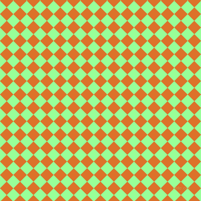 45/135 degree angle diagonal checkered chequered squares checker pattern checkers background, 19 pixel square size, , Tahiti Gold and Mint Green checkers chequered checkered squares seamless tileable