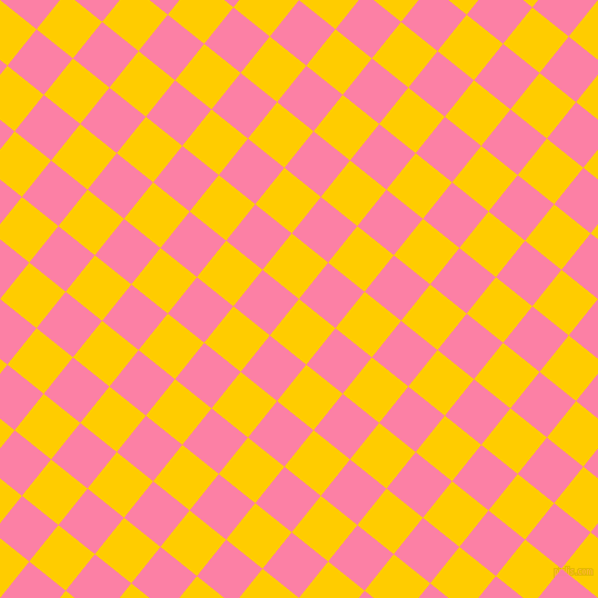 51/141 degree angle diagonal checkered chequered squares checker pattern checkers background, 42 pixel squares size, , Tangerine Yellow and Tickle Me Pink checkers chequered checkered squares seamless tileable