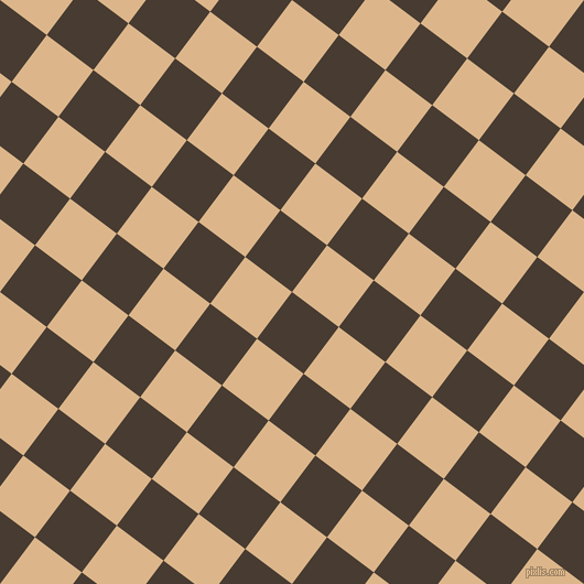 53/143 degree angle diagonal checkered chequered squares checker pattern checkers background, 53 pixel square size, , Taupe and Brandy checkers chequered checkered squares seamless tileable