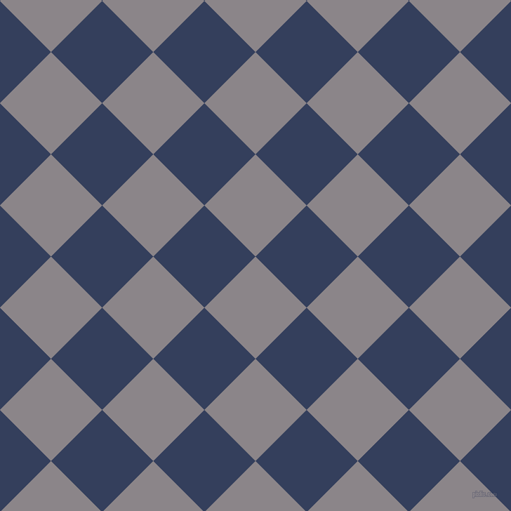 45/135 degree angle diagonal checkered chequered squares checker pattern checkers background, 103 pixel squares size, , Taupe Grey and Gulf Blue checkers chequered checkered squares seamless tileable