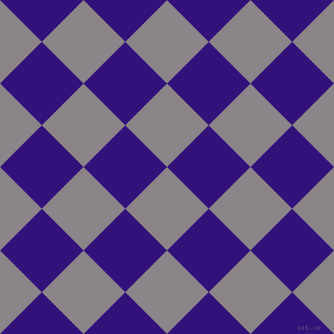 45/135 degree angle diagonal checkered chequered squares checker pattern checkers background, 85 pixel square size, , Taupe Grey and Persian Indigo checkers chequered checkered squares seamless tileable