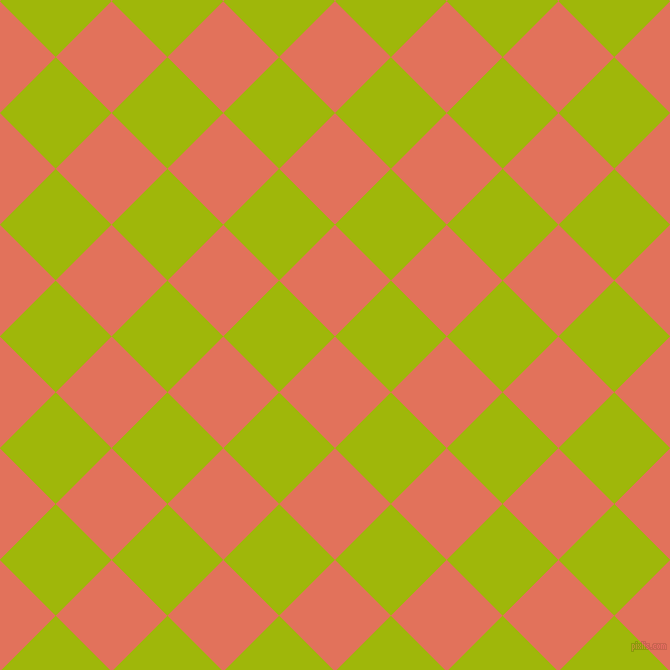 45/135 degree angle diagonal checkered chequered squares checker pattern checkers background, 79 pixel square size, , Terra Cotta and Citrus checkers chequered checkered squares seamless tileable