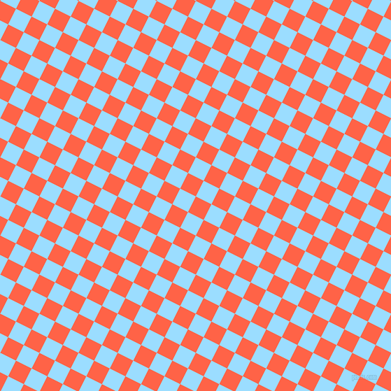 63/153 degree angle diagonal checkered chequered squares checker pattern checkers background, 25 pixel square size, , Tomato and Columbia Blue checkers chequered checkered squares seamless tileable