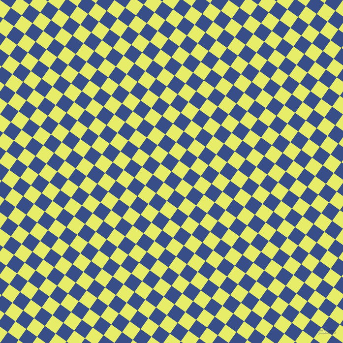 54/144 degree angle diagonal checkered chequered squares checker pattern checkers background, 27 pixel square size, , Tory Blue and Honeysuckle checkers chequered checkered squares seamless tileable