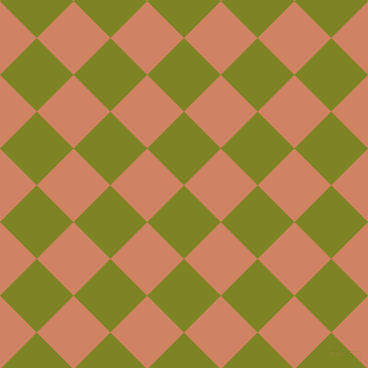 45/135 degree angle diagonal checkered chequered squares checker pattern checkers background, 58 pixel squares size, , Trendy Green and Burning Sand checkers chequered checkered squares seamless tileable