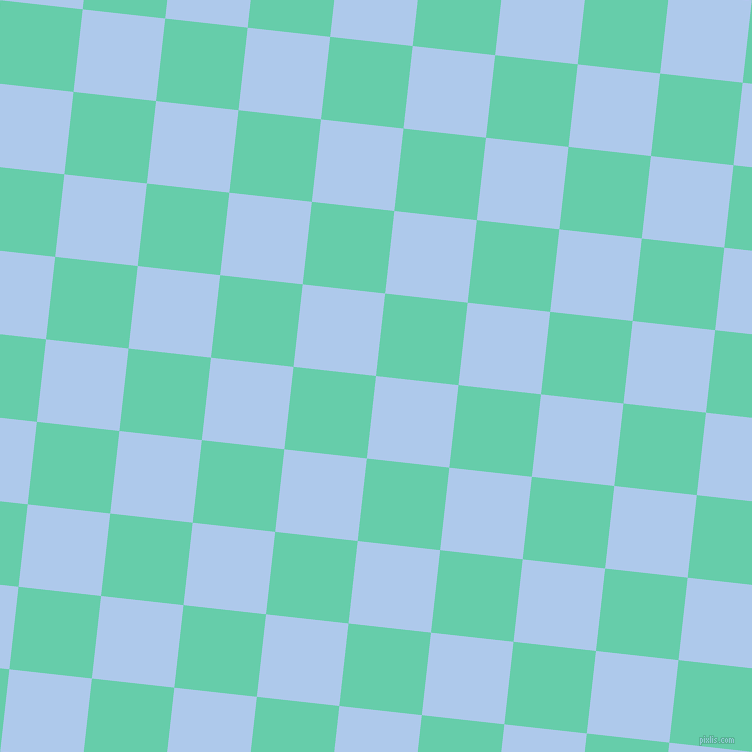 84/174 degree angle diagonal checkered chequered squares checker pattern checkers background, 83 pixel squares size, , Tropical Blue and Medium Aquamarine checkers chequered checkered squares seamless tileable