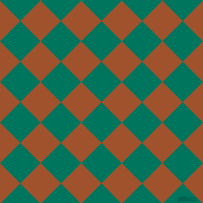 45/135 degree angle diagonal checkered chequered squares checker pattern checkers background, 57 pixel squares size, , Tropical Rain Forest and Sienna checkers chequered checkered squares seamless tileable
