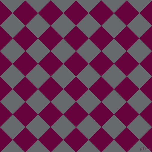 45/135 degree angle diagonal checkered chequered squares checker pattern checkers background, 60 pixel square size, , Tyrian Purple and Mid Grey checkers chequered checkered squares seamless tileable