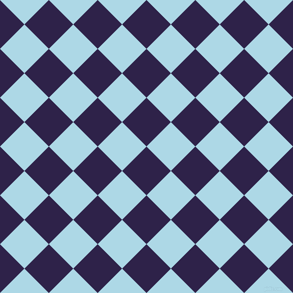 45/135 degree angle diagonal checkered chequered squares checker pattern checkers background, 68 pixel square size, , Violent Violet and Light Blue checkers chequered checkered squares seamless tileable