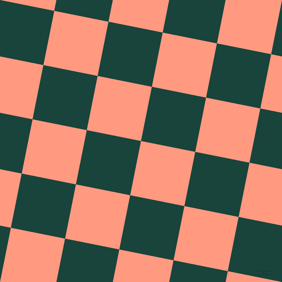 79/169 degree angle diagonal checkered chequered squares checker pattern checkers background, 111 pixel squares size, Vivid Tangerine and Deep Teal checkers chequered checkered squares seamless tileable