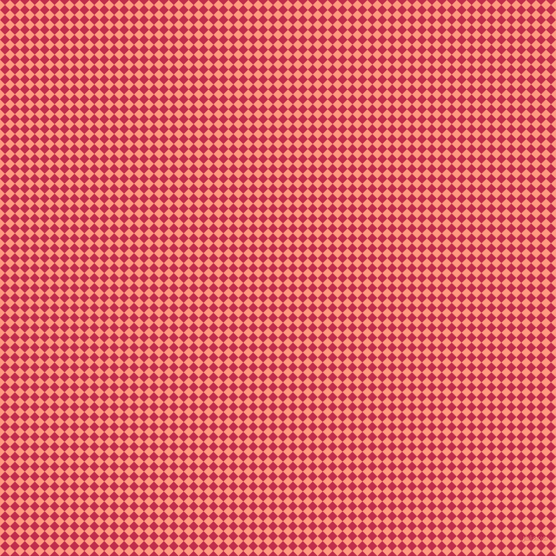 45/135 degree angle diagonal checkered chequered squares checker pattern checkers background, 10 pixel square size, Vivid Tangerine and Old Rose checkers chequered checkered squares seamless tileable