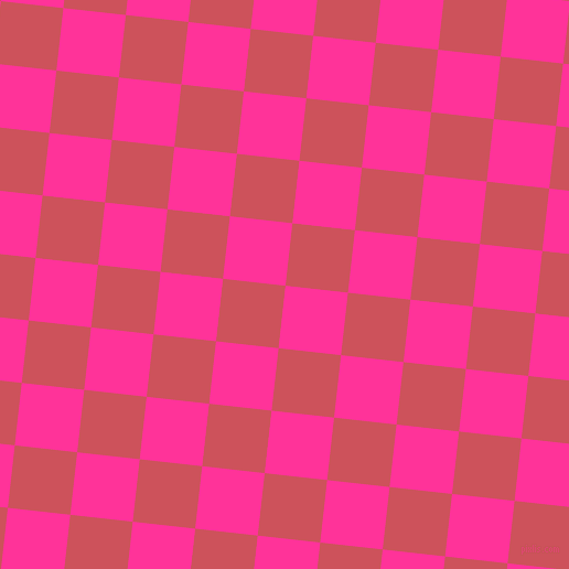 84/174 degree angle diagonal checkered chequered squares checker pattern checkers background, 57 pixel square size, Wild Strawberry and Mandy checkers chequered checkered squares seamless tileable