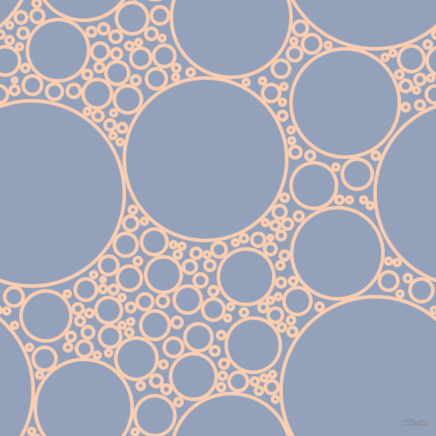 bubbles, circles, sponge, big, medium, small, 5 pixel line width, Apricot and Rock Blue circles bubbles sponge soap seamless tileable