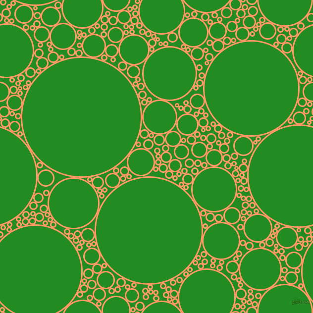 bubbles, circles, sponge, big, medium, small, 3 pixel line width, Atomic Tangerine and Forest Green circles bubbles sponge soap seamless tileable