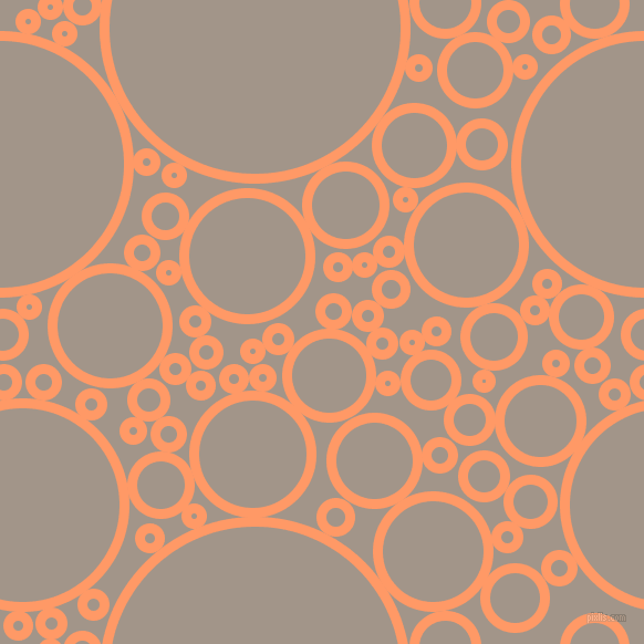 bubbles, circles, sponge, big, medium, small, 9 pixel line width, Atomic Tangerine and Zorba circles bubbles sponge soap seamless tileable