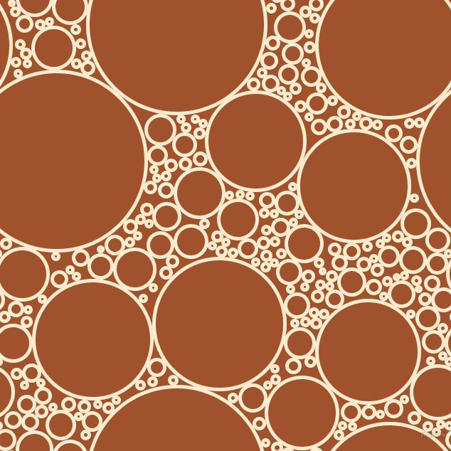 bubbles, circles, sponge, big, medium, small, 5 pixel line width, Blanched Almond and Sienna circles bubbles sponge soap seamless tileable