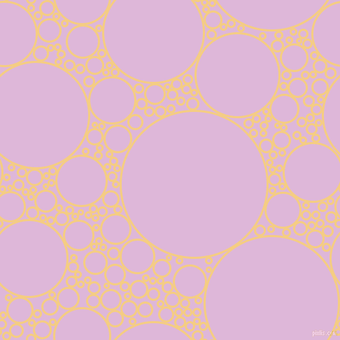 bubbles, circles, sponge, big, medium, small, 3 pixel line width, Cherokee and French Lilac circles bubbles sponge soap seamless tileable