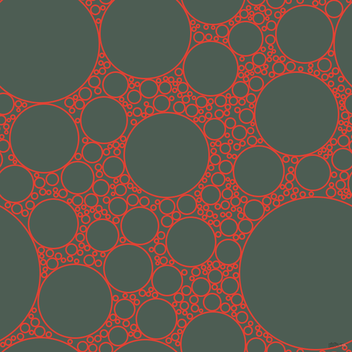 bubbles, circles, sponge, big, medium, small, 3 pixel line width, Cinnabar and Feldgrau circles bubbles sponge soap seamless tileable