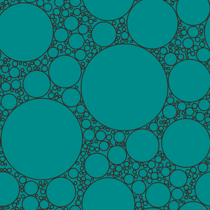 bubbles, circles, sponge, big, medium, small, 3 pixel line width, Coffee Bean and Dark Cyan circles bubbles sponge soap seamless tileable