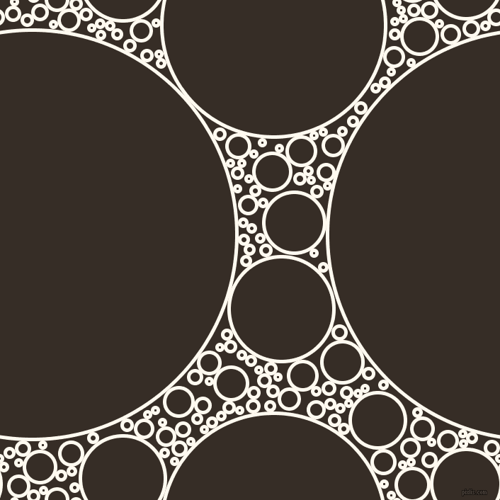bubbles, circles, sponge, big, medium, small, 5 pixel line width, Floral White and Coffee Bean circles bubbles sponge soap seamless tileable