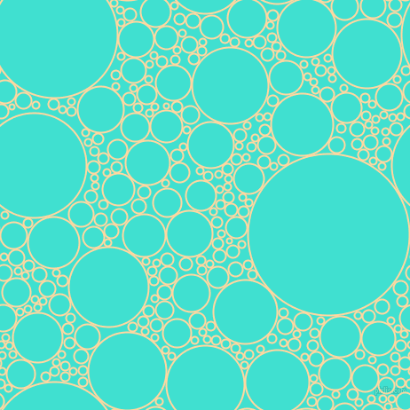 bubbles, circles, sponge, big, medium, small, 2 pixel line width, Frangipani and Turquoise circles bubbles sponge soap seamless tileable