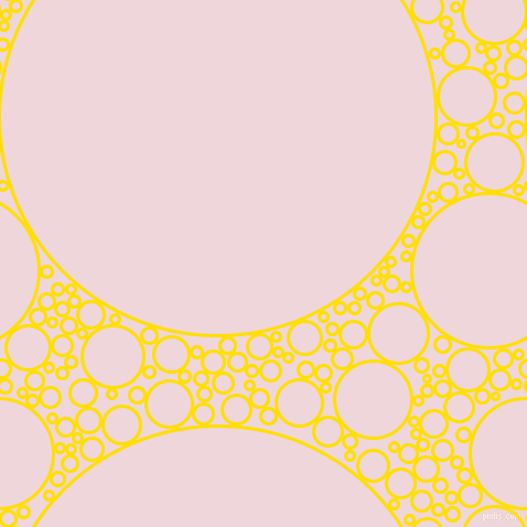 bubbles, circles, sponge, big, medium, small, 3 pixel line width, Golden Yellow and Pale Rose circles bubbles sponge soap seamless tileable