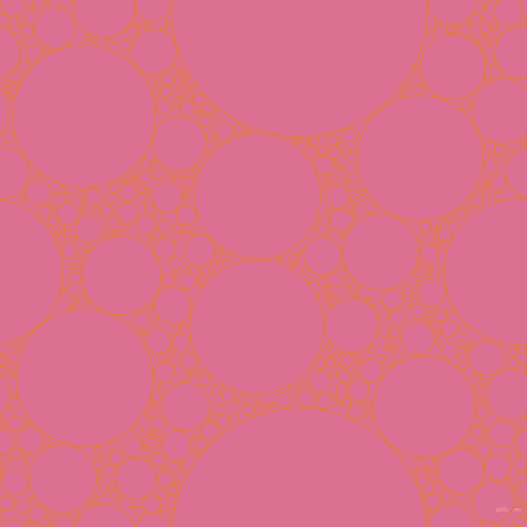 bubbles, circles, sponge, big, medium, small, 2 pixel line width, Jaffa and Pale Violet Red circles bubbles sponge soap seamless tileable