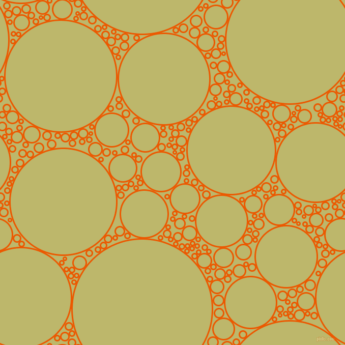 bubbles, circles, sponge, big, medium, small, 3 pixel line width, Persimmon and Dark Khaki circles bubbles sponge soap seamless tileable