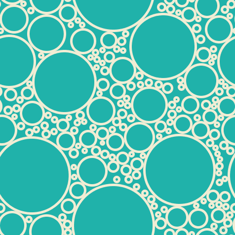 bubbles, circles, sponge, big, medium, small, 5 pixel line width, Rum Swizzle and Light Sea Green circles bubbles sponge soap seamless tileable