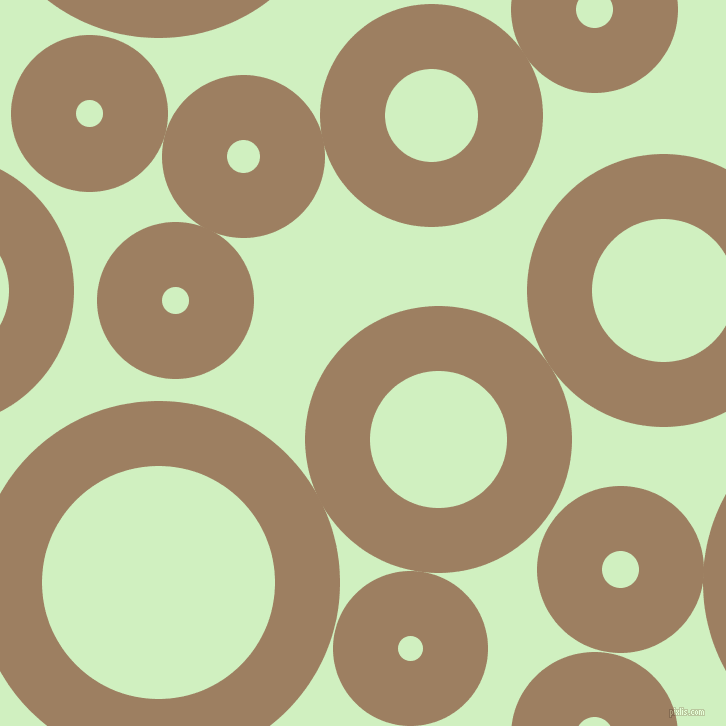 bubbles, circles, sponge, big, medium, small, 65 pixel line width, Sorrell Brown and Tea Green circles bubbles sponge soap seamless tileable